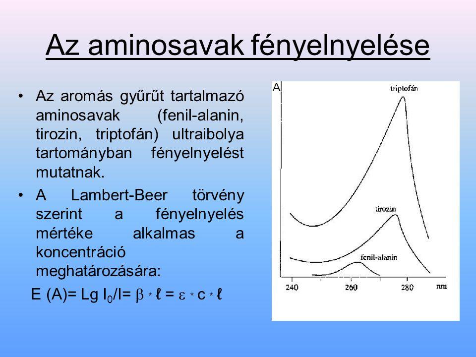 Aminosavak legfontosabb reakciói Legfontosabb a ninhidrin- reakció : → A konjugált kettőskötés- rendszer miatt ibolyáskék színű végtermék keletkezik (kivéve a prolint, mely sárgás színű).