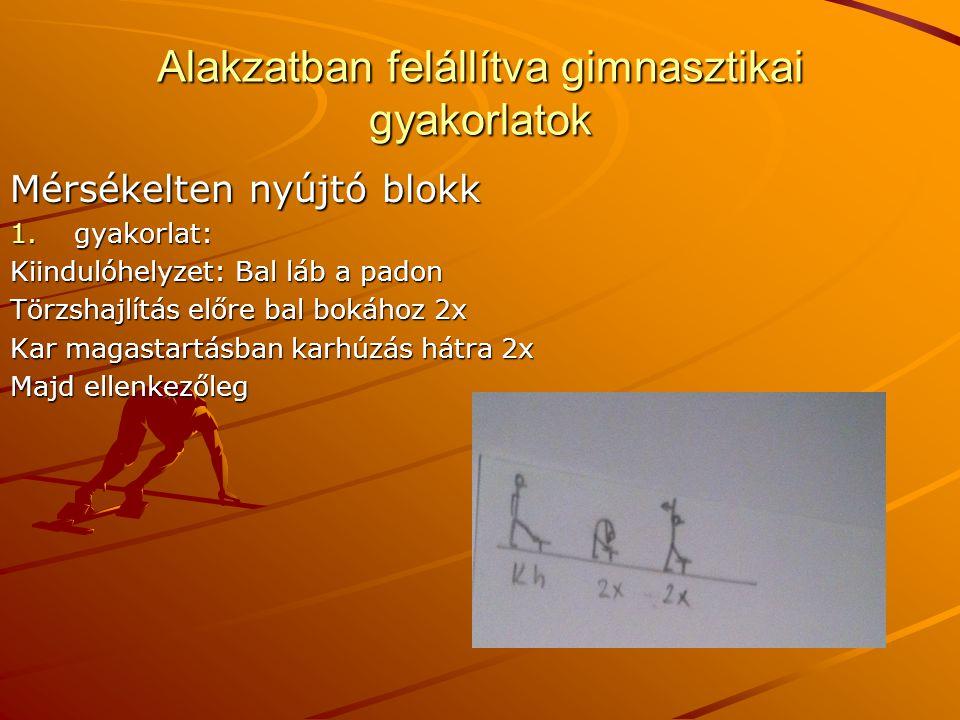 Alakzatban felállítva gimnasztikai gyakorlatok Mérsékelten nyújtó blokk 1.gyakorlat: Kiindulóhelyzet: Bal láb a padon Törzshajlítás előre bal bokához