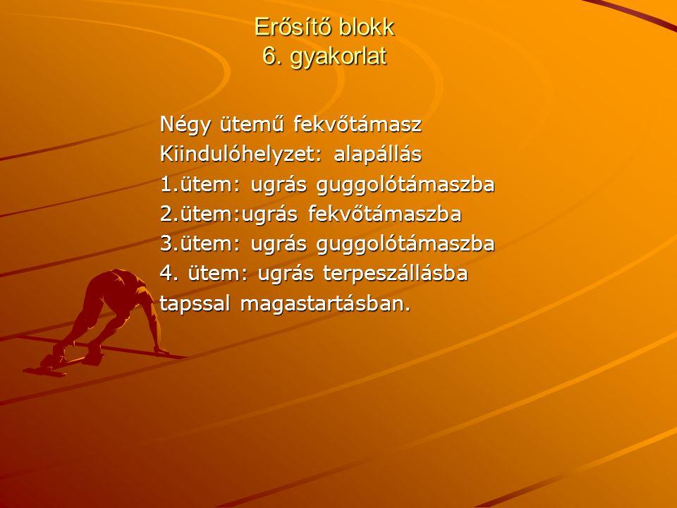 Erősítő blokk 6. gyakorlat Négy ütemű fekvőtámasz Kiindulóhelyzet: alapállás 1.ütem: ugrás guggolótámaszba 2.ütem:ugrás fekvőtámaszba 3.ütem: ugrás gu