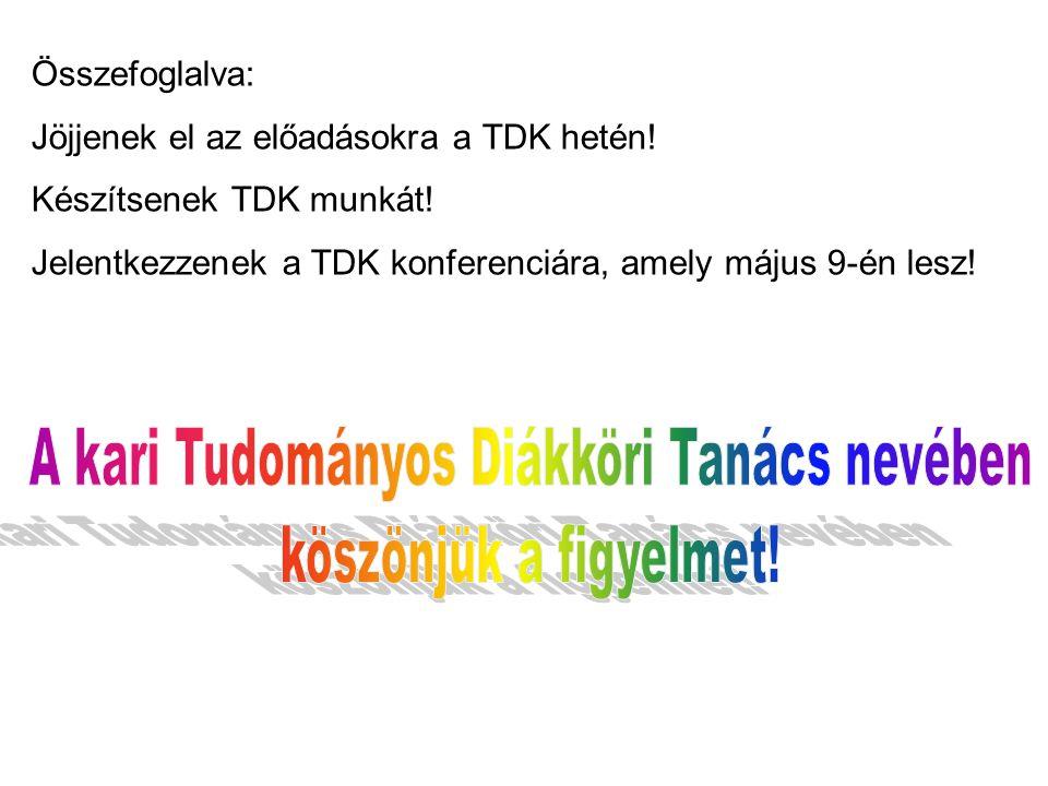 Összefoglalva: Jöjjenek el az előadásokra a TDK hetén! Készítsenek TDK munkát! Jelentkezzenek a TDK konferenciára, amely május 9-én lesz!