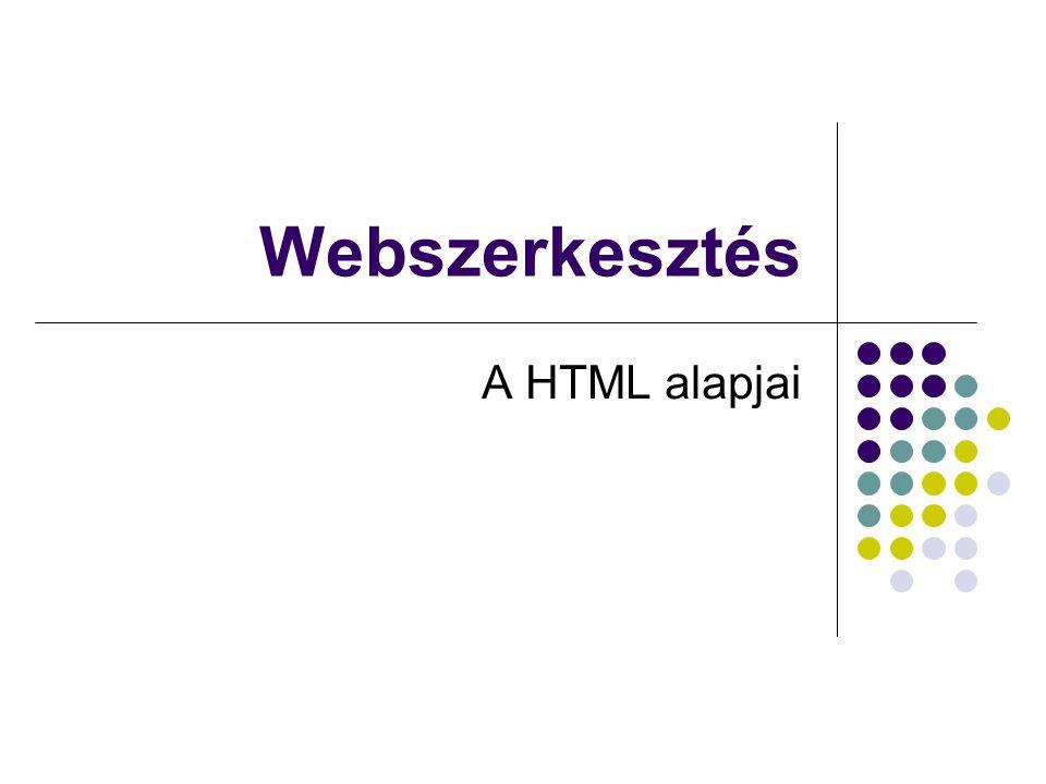 Webszerkesztés A HTML alapjai