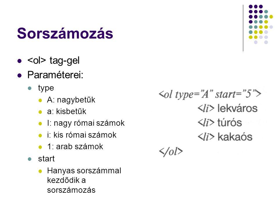 Sorszámozás tag-gel Paraméterei: type A: nagybetűk a: kisbetűk I: nagy római számok i: kis római számok 1: arab számok start Hanyas sorszámmal kezdődi