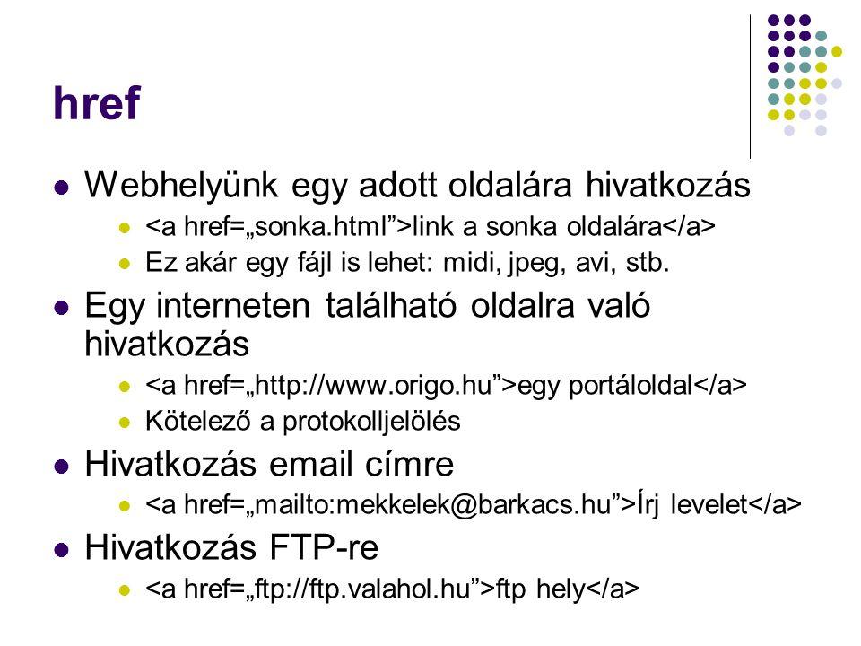 href Webhelyünk egy adott oldalára hivatkozás link a sonka oldalára Ez akár egy fájl is lehet: midi, jpeg, avi, stb. Egy interneten található oldalra