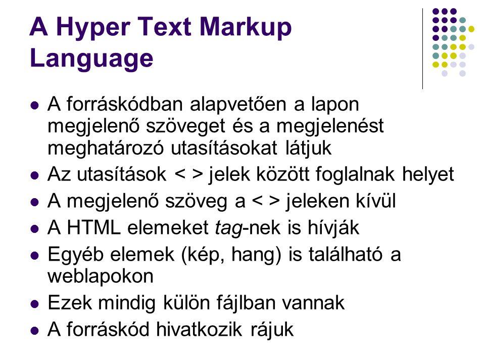 A Hyper Text Markup Language A forráskódban alapvetően a lapon megjelenő szöveget és a megjelenést meghatározó utasításokat látjuk Az utasítások jelek