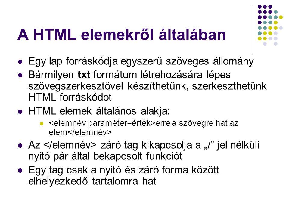 A HTML elemekről általában Egy lap forráskódja egyszerű szöveges állomány Bármilyen txt formátum létrehozására lépes szövegszerkesztővel készíthetünk,