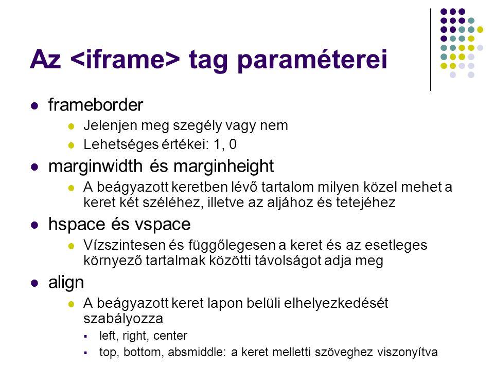 Az tag paraméterei frameborder Jelenjen meg szegély vagy nem Lehetséges értékei: 1, 0 marginwidth és marginheight A beágyazott keretben lévő tartalom