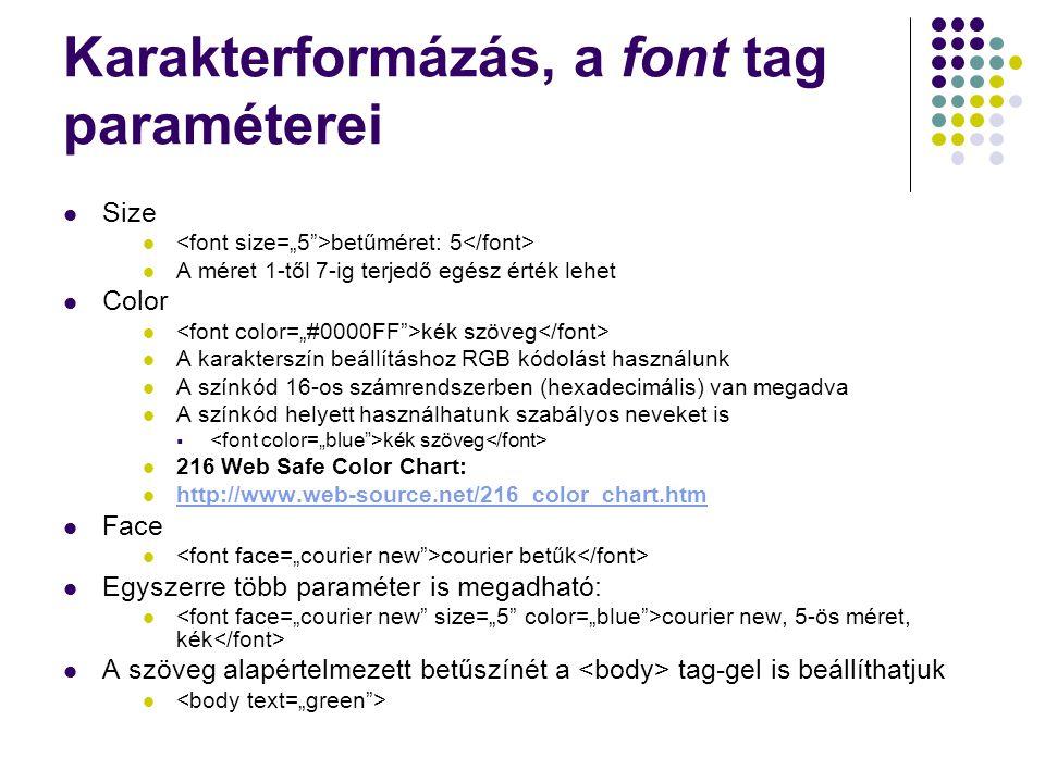 Karakterformázás, a font tag paraméterei Size betűméret: 5 A méret 1-től 7-ig terjedő egész érték lehet Color kék szöveg A karakterszín beállításhoz R