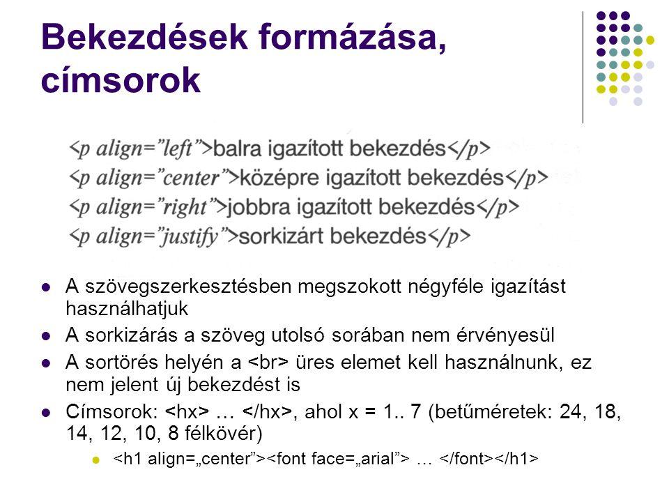 Bekezdések formázása, címsorok A szövegszerkesztésben megszokott négyféle igazítást használhatjuk A sorkizárás a szöveg utolsó sorában nem érvényesül