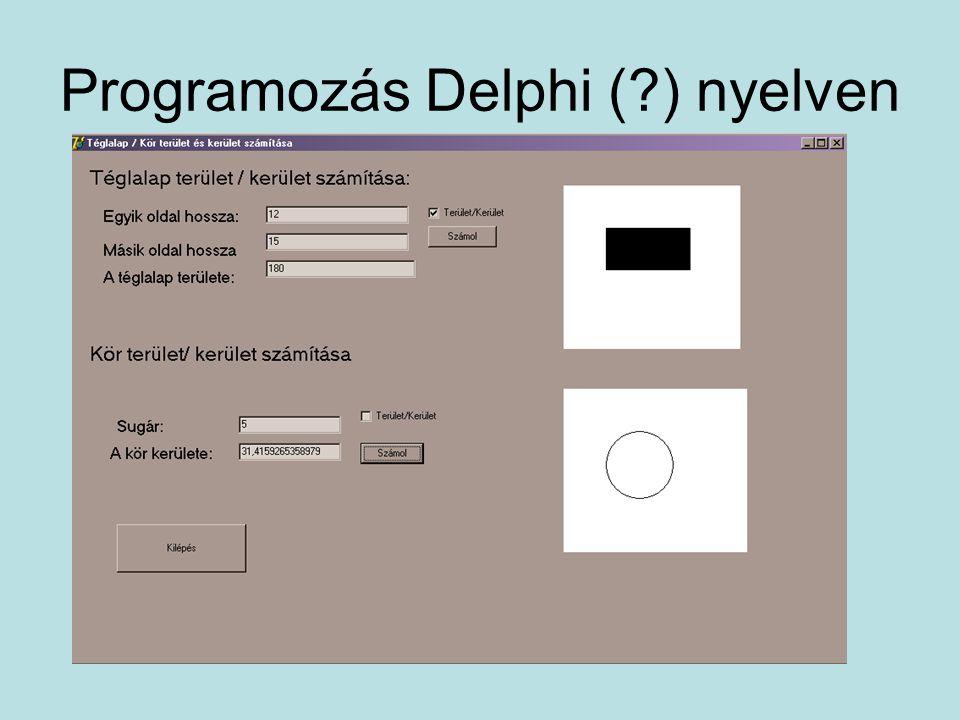 Programozás Delphi (?) nyelven