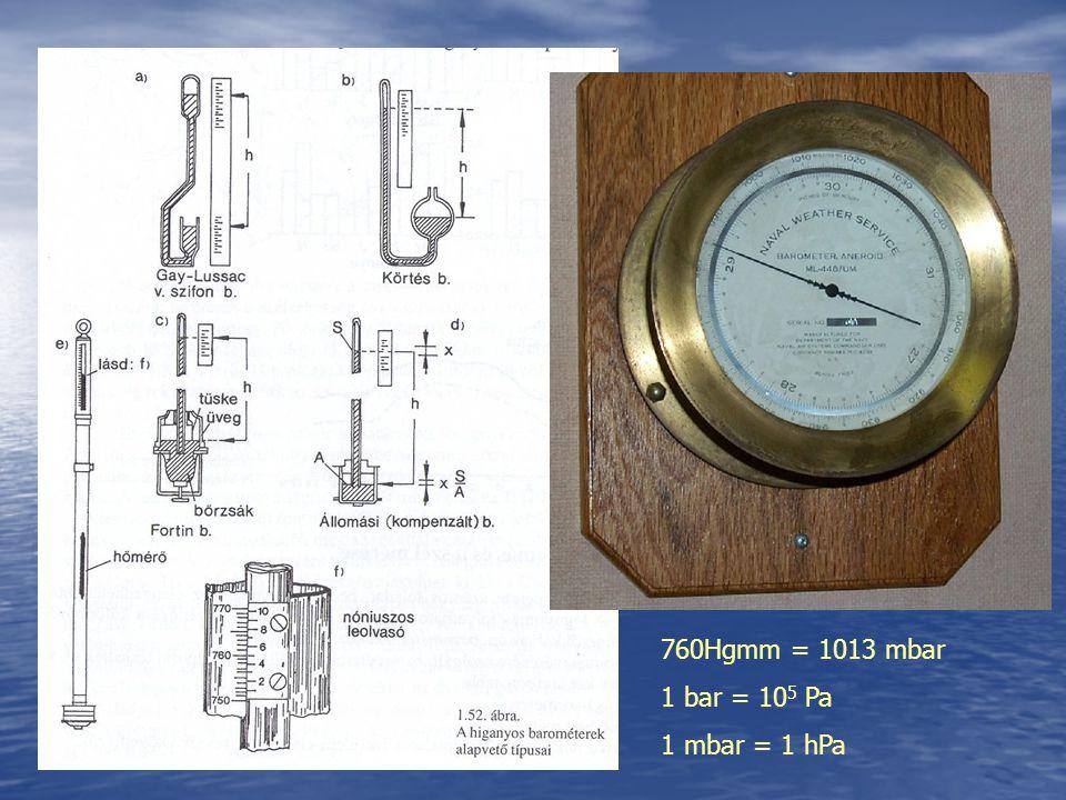 760Hgmm = 1013 mbar 1 bar = 10 5 Pa 1 mbar = 1 hPa