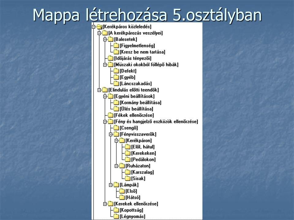 Mappa létrehozása 5.osztályban