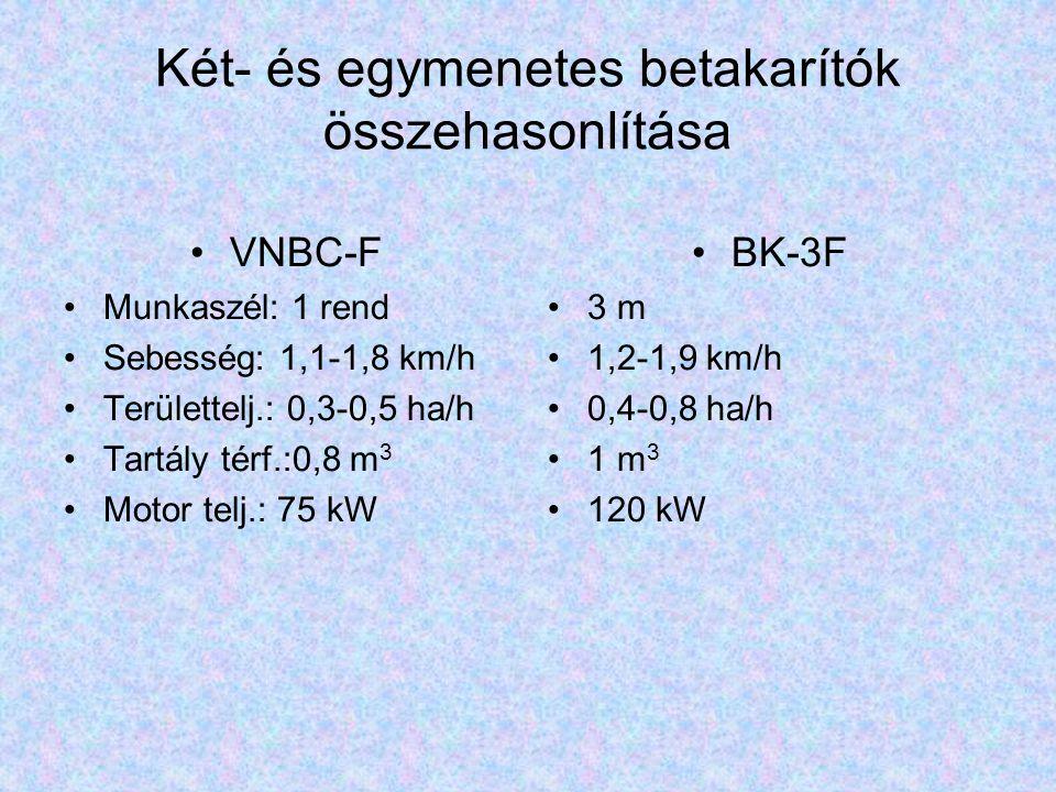 Két- és egymenetes betakarítók összehasonlítása VNBC-F Munkaszél: 1 rend Sebesség: 1,1-1,8 km/h Területtelj.: 0,3-0,5 ha/h Tartály térf.:0,8 m 3 Motor