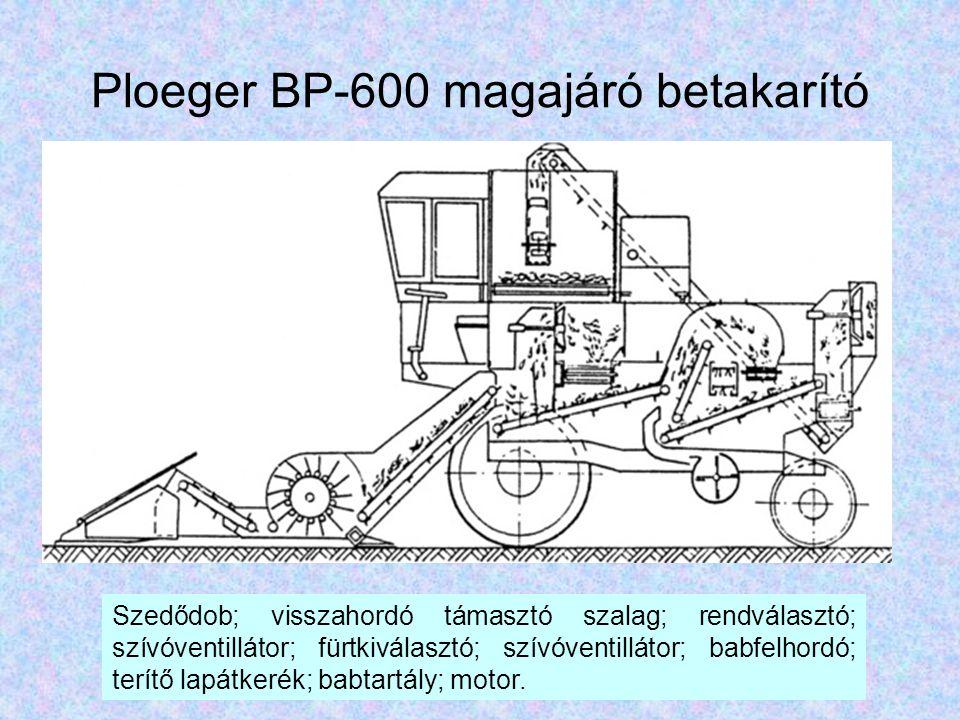 Ploeger BP-600 magajáró betakarító Szedődob; visszahordó támasztó szalag; rendválasztó; szívóventillátor; fürtkiválasztó; szívóventillátor; babfelhord