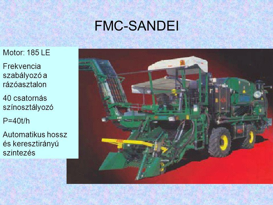 FMC-SANDEI Motor: 185 LE Frekvencia szabályozó a rázóasztalon 40 csatornás színosztályozó P=40t/h Automatikus hossz és keresztirányú szintezés