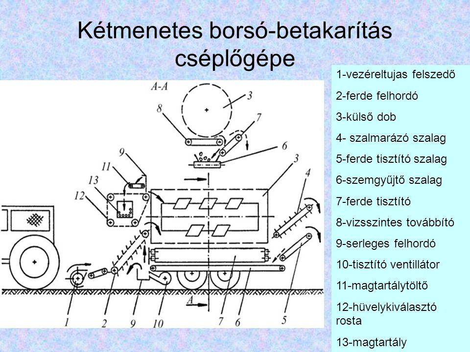 Fésülő rendszerű borsókombájn 1-fésülődob; 2-talajkövető henger; 3-ferde felhordó; 4- keresztirányú szalag; 5,6-felhordó szalagok; 7, 8, 9- cséplődobok (több belső dob); 10-kefehenger; 11-ferde tisztítószalag;12-hosszú gyűjtőszalag; 13-serleges elevátor; 14-szállító szalag; 15-szívó ventilátor; 16- hüvelyrosta; 17-magtartály