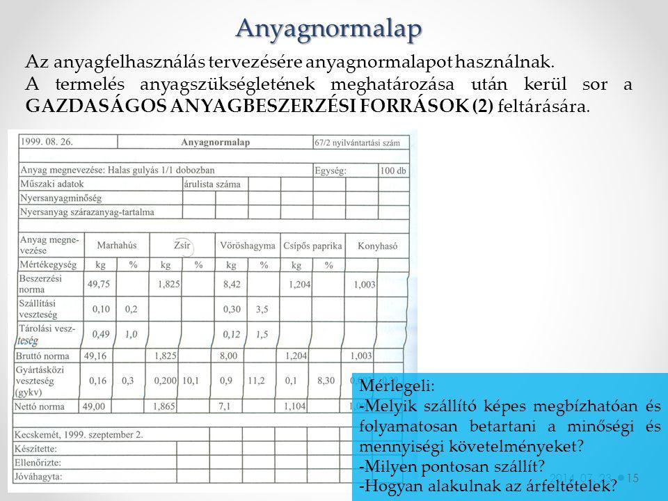 2014. 07. 23. Anyagnormalap Az anyagfelhasználás tervezésére anyagnormalapot használnak. A termelés anyagszükségletének meghatározása után kerül sor a