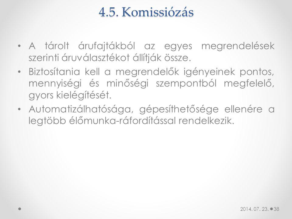 4.5. Komissiózás A tárolt árufajtákból az egyes megrendelések szerinti áruválasztékot állítják össze. Biztosítania kell a megrendelők igényeinek ponto