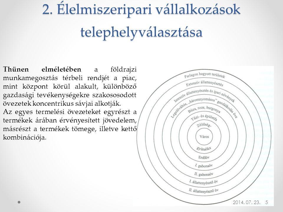 2. Élelmiszeripari vállalkozások telephelyválasztása 2014. 07. 23. Thünen elméletében a földrajzi munkamegosztás térbeli rendjét a piac, mint központ