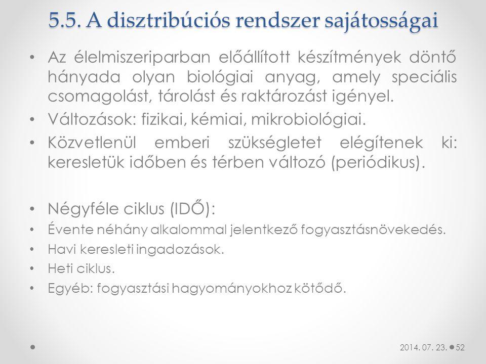 5.5. A disztribúciós rendszer sajátosságai Az élelmiszeriparban előállított készítmények döntő hányada olyan biológiai anyag, amely speciális csomagol