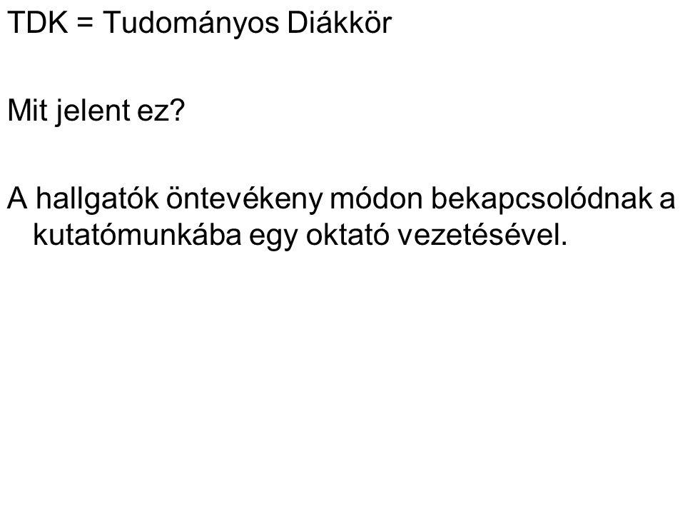 TDK = Tudományos Diákkör Mit jelent ez.
