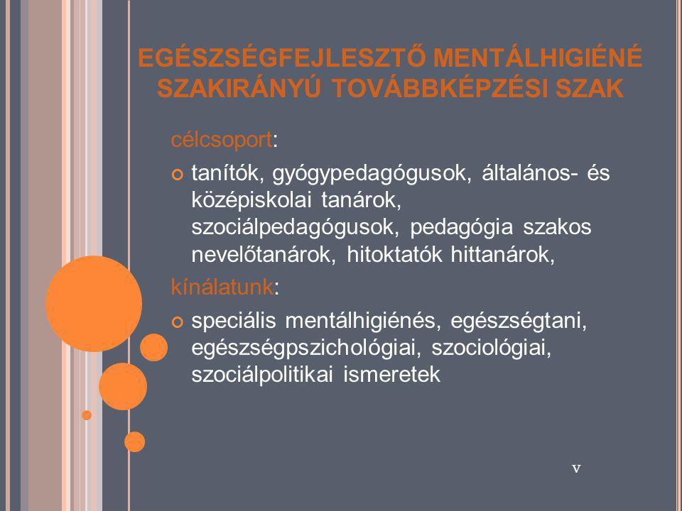 EGÉSZSÉGFEJLESZTŐ MENTÁLHIGIÉNÉ SZAKIRÁNYÚ TOVÁBBKÉPZÉSI SZAK célcsoport: tanítók, gyógypedagógusok, általános- és középiskolai tanárok, szociálpedagógusok, pedagógia szakos nevelőtanárok, hitoktatók hittanárok, kínálatunk: speciális mentálhigiénés, egészségtani, egészségpszichológiai, szociológiai, szociálpolitikai ismeretek v