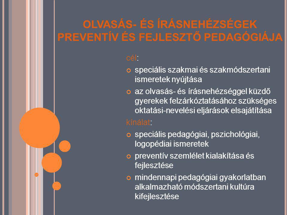 OLVASÁS- ÉS ÍRÁSNEHÉZSÉGEK PREVENTÍV ÉS FEJLESZTŐ PEDAGÓGIÁJA cél: speciális szakmai és szakmódszertani ismeretek nyújtása az olvasás- és írásnehézséggel küzdő gyerekek felzárkóztatásához szükséges oktatási-nevelési eljárások elsajátítása kínálat: speciális pedagógiai, pszichológiai, logopédiai ismeretek preventív szemlélet kialakítása és fejlesztése mindennapi pedagógiai gyakorlatban alkalmazható módszertani kultúra kifejlesztése
