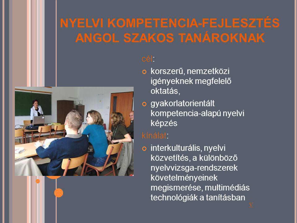NYELVI KOMPETENCIA-FEJLESZTÉS NÉMET SZAKOS TANÁROKNAK célcsoport: általános és középiskolákban némettanár-szakos diplomával rendelkezők kínálatunk: a germanisztika legújabb eredményei, melyek gyarapítják és elmélyítik a korábbi ismereteket, eredményesen építhetők be a mindennapi tanítási-tanulási gyakorlatba, szövegértési, szövegalkotási, kommunikatív, grammatikai, közvetítési kompetenciák fejlesztése v
