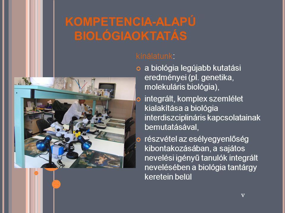 KOMPETENCIA-ALAPÚ BIOLÓGIAOKTATÁS kínálatunk: a biológia legújabb kutatási eredményei (pl.