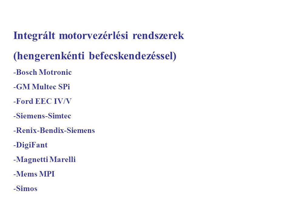 Integrált motorvezérlési rendszerek (hengerenkénti befecskendezéssel) -Bosch Motronic -GM Multec SPi -Ford EEC IV/V -Siemens-Simtec -Renix-Bendix-Siem