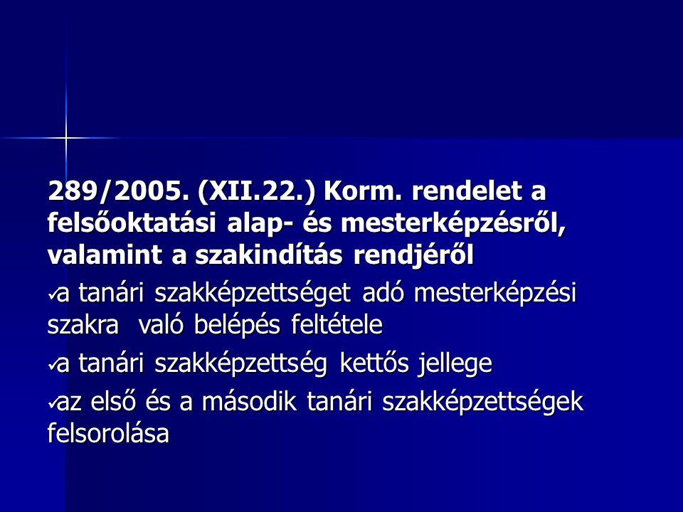 289/2005. (XII.22.) Korm.