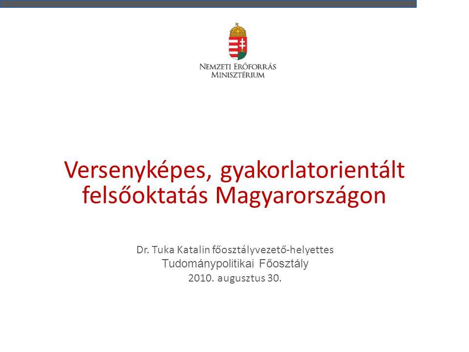 Versenyképes, gyakorlatorientált felsőoktatás Magyarországon Dr. Tuka Katalin főosztályvezető-helyettes Tudománypolitikai Főosztály 2010. augusztus 30