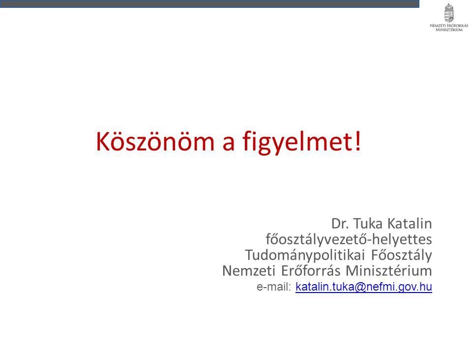 Köszönöm a figyelmet! Dr. Tuka Katalin főosztályvezető-helyettes Tudománypolitikai Főosztály Nemzeti Erőforrás Minisztérium e-mail: katalin.tuka@nefmi