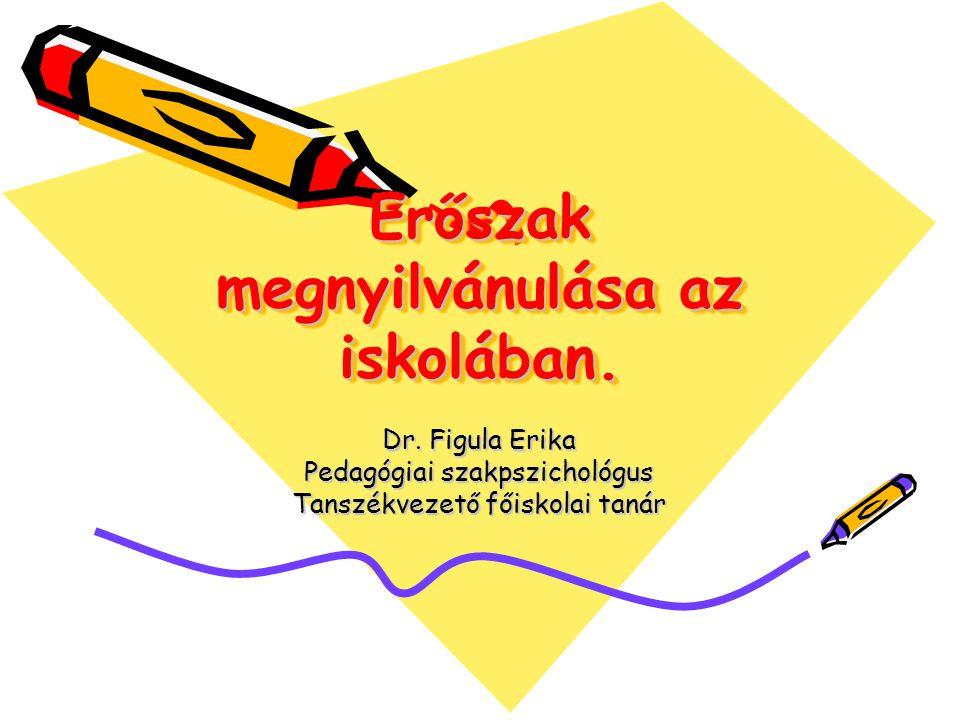 Erőszak megnyilvánulása az iskolában. Dr. Figula Erika Pedagógiai szakpszichológus Tanszékvezető főiskolai tanár