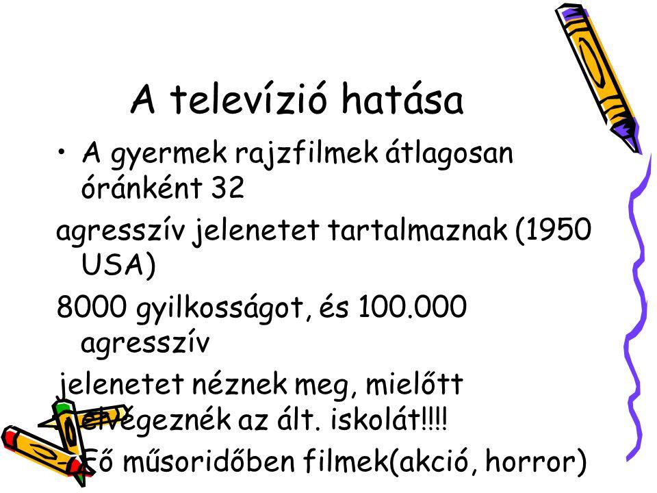 A televízió hatása A gyermek rajzfilmek átlagosan óránként 32 agresszív jelenetet tartalmaznak (1950 USA) 8000 gyilkosságot, és 100.000 agresszív jele
