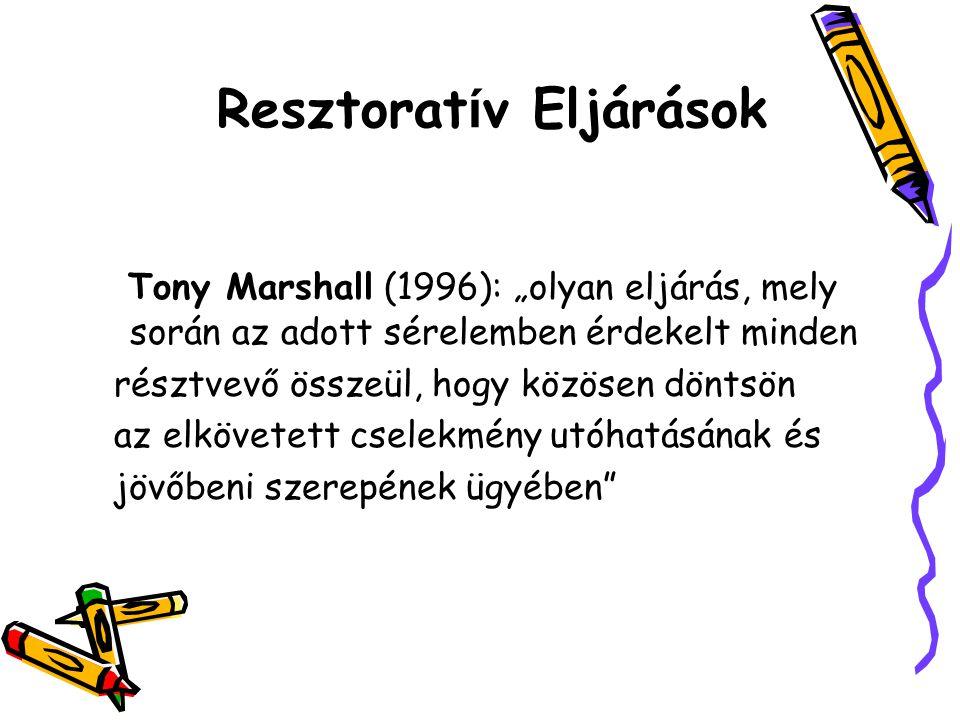 """Resztorat í v Eljárások Tony Marshall (1996): """"olyan eljárás, mely során az adott sérelemben érdekelt minden résztvevő összeül, hogy közösen döntsön a"""