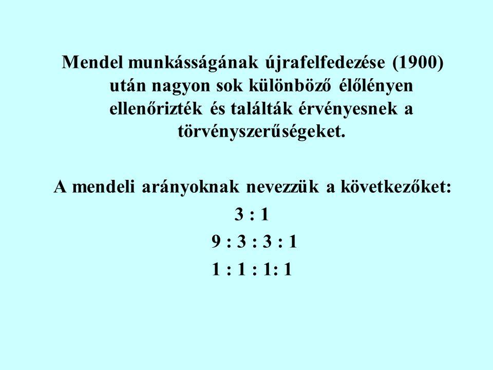 Mendel munkásságának újrafelfedezése (1900) után nagyon sok különböző élőlényen ellenőrizték és találták érvényesnek a törvényszerűségeket.