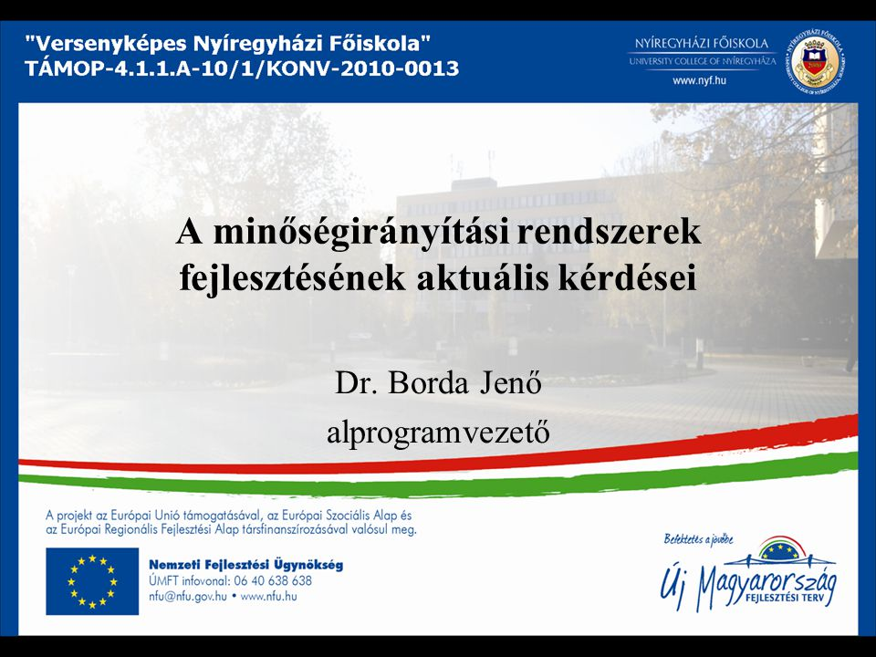 A minőségirányítási rendszerek fejlesztésének aktuális kérdései Dr. Borda Jenő alprogramvezető
