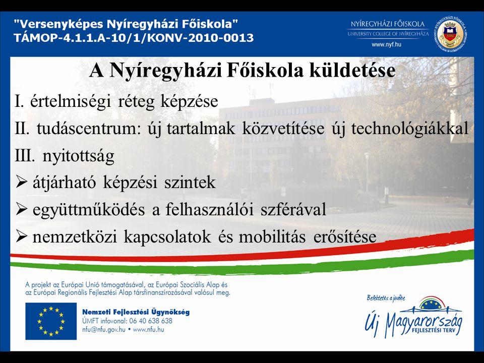 A Nyíregyházi Főiskola küldetése I. értelmiségi réteg képzése II.