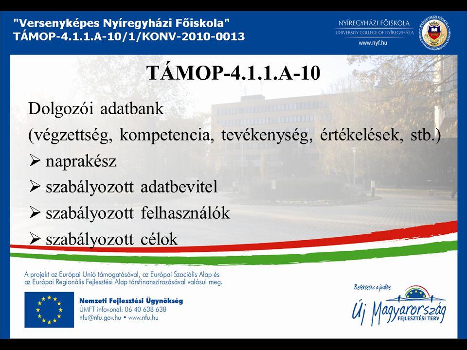 TÁMOP-4.1.1.A-10 Dolgozói adatbank (végzettség, kompetencia, tevékenység, értékelések, stb.)  naprakész  szabályozott adatbevitel  szabályozott felhasználók  szabályozott célok