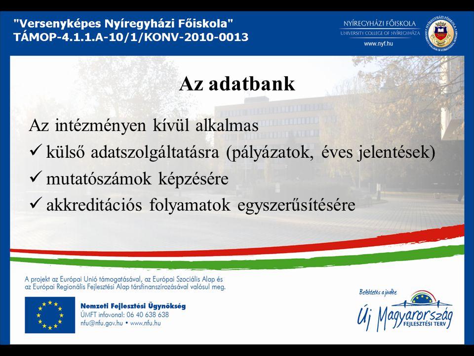 Az adatbank Az intézményen kívül alkalmas külső adatszolgáltatásra (pályázatok, éves jelentések) mutatószámok képzésére akkreditációs folyamatok egyszerűsítésére