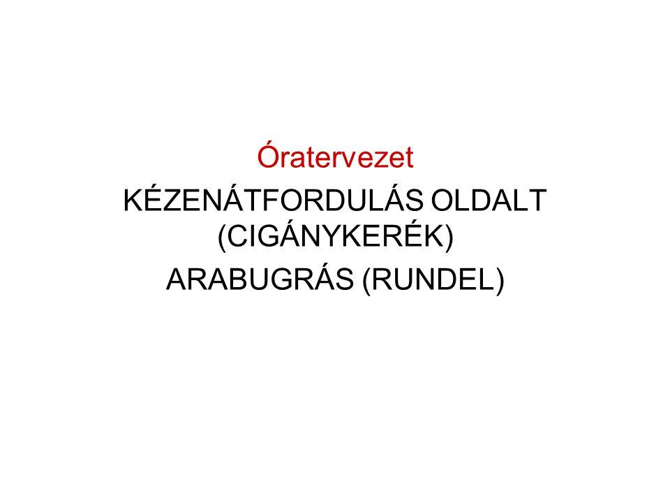 Óratervezet KÉZENÁTFORDULÁS OLDALT (CIGÁNYKERÉK) ARABUGRÁS (RUNDEL)