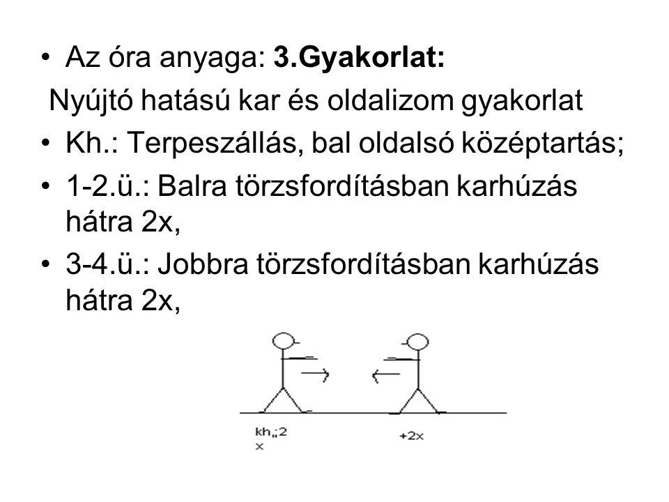 Az óra anyaga: 3.Gyakorlat: Nyújtó hatású kar és oldalizom gyakorlat Kh.: Terpeszállás, bal oldalsó középtartás; 1-2.ü.: Balra törzsfordításban karhúzás hátra 2x, 3-4.ü.: Jobbra törzsfordításban karhúzás hátra 2x,
