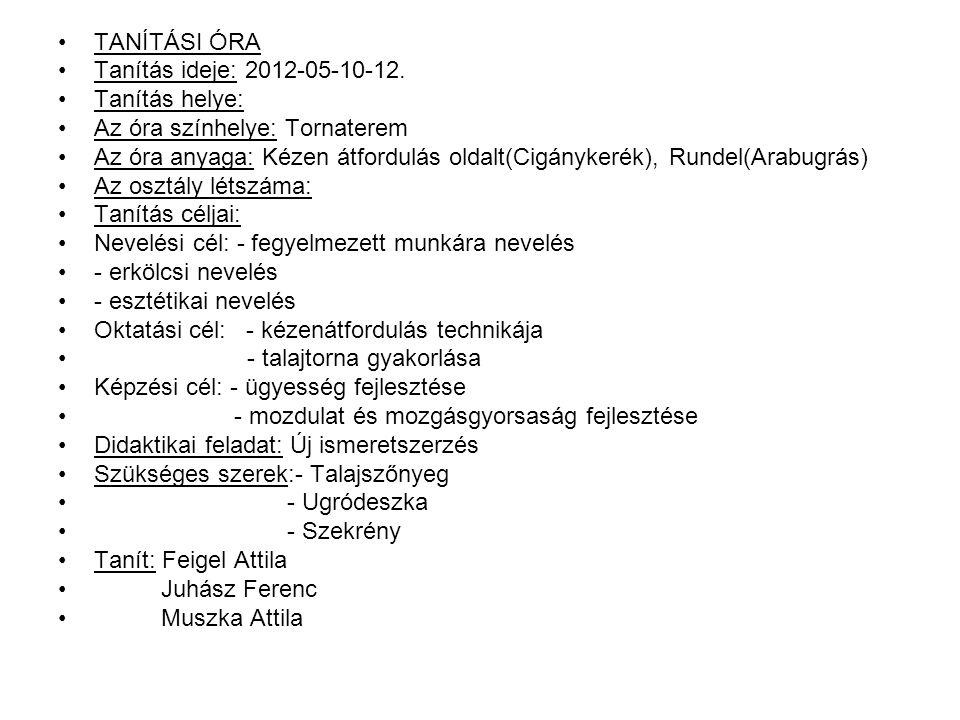TANÍTÁSI ÓRA Tanítás ideje: 2012-05-10-12.