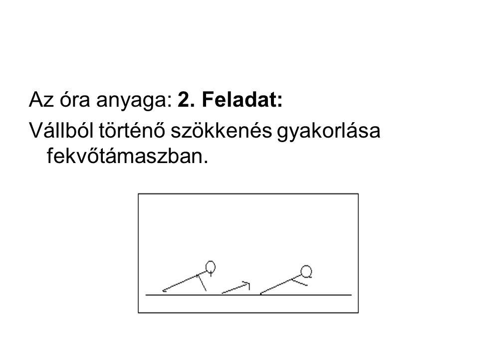 Az óra anyaga: 2. Feladat: Vállból történő szökkenés gyakorlása fekvőtámaszban.