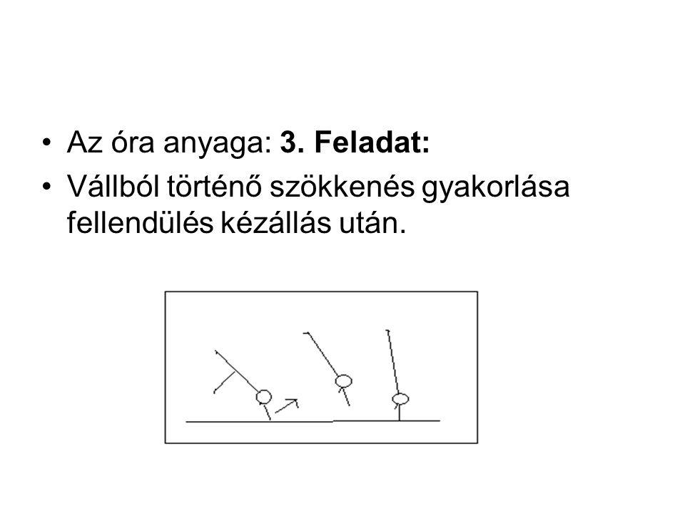 Az óra anyaga: 3. Feladat: Vállból történő szökkenés gyakorlása fellendülés kézállás után.