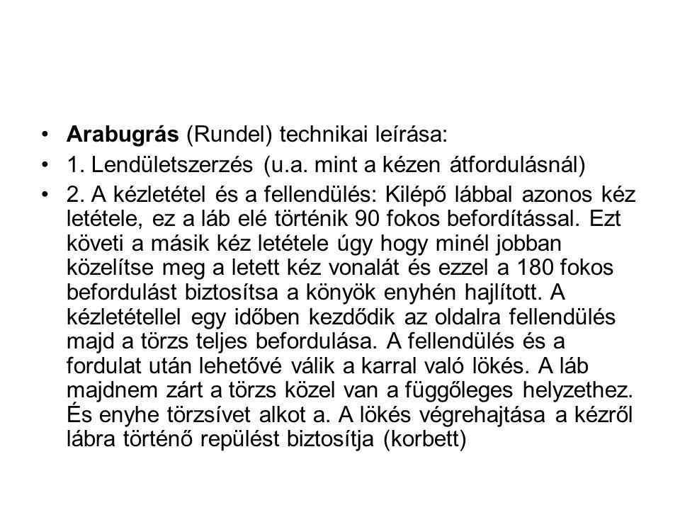 Arabugrás (Rundel) technikai leírása: 1.Lendületszerzés (u.a.