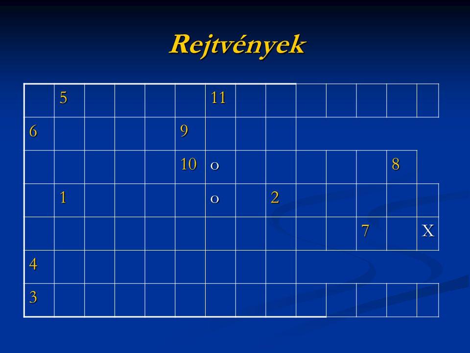 Rejtvények 511 69 10o8 1o2 7X 4 3