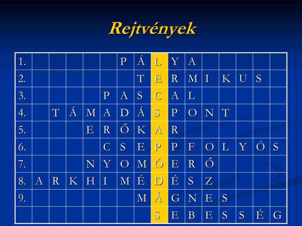 Rejtvények 1.PÁLYA 2.TERMIKUS 3.PASCAL 4.TÁMADÁSPONT 5.ERŐKAR 6.CSEPPFOLYÓS 7.NYOMÓERŐ 8.ARKHIMÉDÉSZ 9.MÁGNES SEBESSÉG