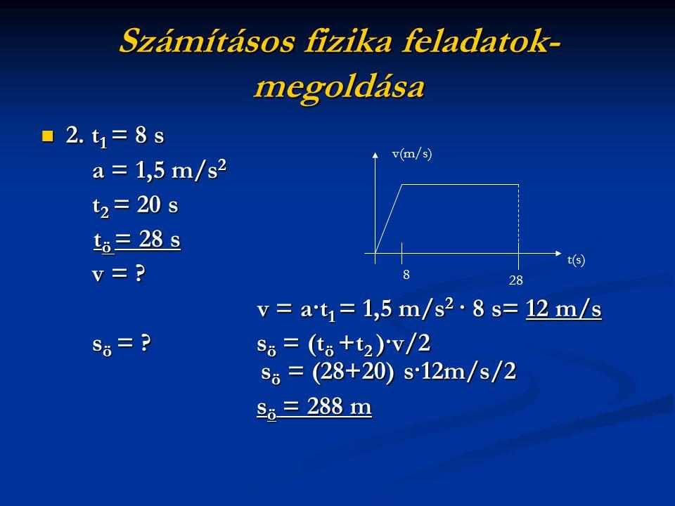 2. t1 = 8 s a = 1,5 m/s2 t2 = 20 s tö = 28 s v = ? v = a·t1 = 1,5 m/s2 · 8 s= 12 m/s sö = ? sö = (tö +t2 )·v/2 sö = (28+20) s·12m/s/2 sö = 288 m v(m/s