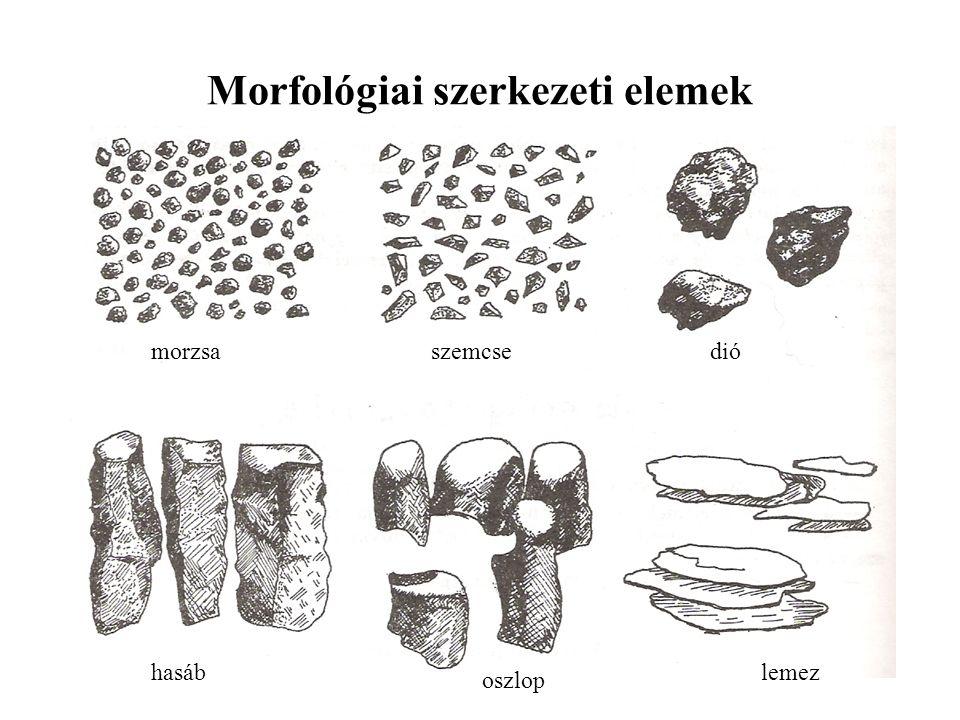 Morfológiai szerkezeti elemek morzsaszemcsedió hasáb oszlop lemez
